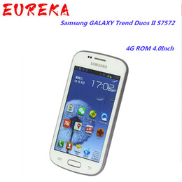 Wholesale mini cell phone sim for sale - Group buy Original refurbished Samsung GALAXY Trend Duos II S7572 G WCDMA Cell Phones G ROM Inch Unlocked Wi Fi Single SIM Mini SIM
