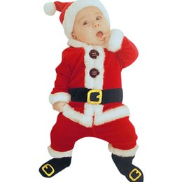 long baby santa hat Australia - 4Pcs Christmas Costume Baby Boy Clothes Sets Baby Girl Santa Claus Long Sleeve Tops Pants Hat Socking Suits Toddler Baby Clothes 201126