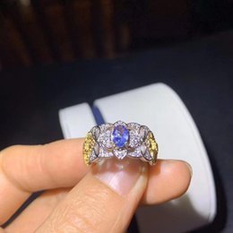 tanzanite cluster ring Canada - The Best Gift For your mother Tanzanite luxury Ring ring Free shipping gemstone 925 sterling silver Fine jewelry