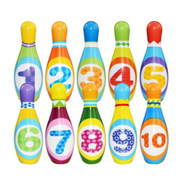 Wholesale 1 Set Bowling Pins And Balls Fun Safe PU Educational Toy For Kids Toddlers Children Outdoor Or Indoor Toy Sports#qqq