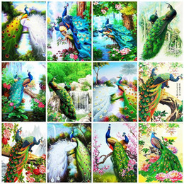 diy peacock home decor UK - Evershine 5D DIY Diamond Painting Peacock Animals Diamond Embroidery Cross Stitch Kit Rhinestone Pictures Home Decor Gift1