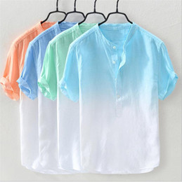 Discount colorful mens shirts New Men Shirt Casual Colorful Short Sleeve For Father Spring Autumn Mens Casual Shirts Clothing For Man Shirts Male S-5X