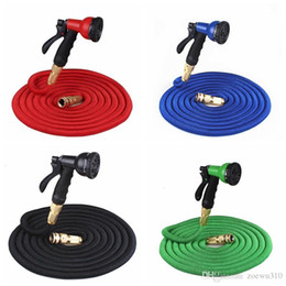 expandable hose connector Canada - 25FT Retractable Hose Natural Latex Expandable Garden Hose Garden Watering Washing Car Fast Connector Water Hose With Water Gun DBC DH0756