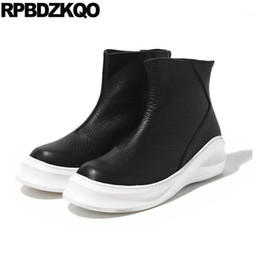 Discount open toe platform ankle boots winter wedge korean high platform sneakers thick soled shoes sole black italian trainer boots faux fur zipper top booties men1