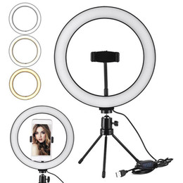 Wholesale Selfie Ring LED Light Stand 26 Cm 10 Inch Dimmable Mini Tripod For For Smartphone Youtube Tiktok Makeup Video Studio Tripod Ring Light