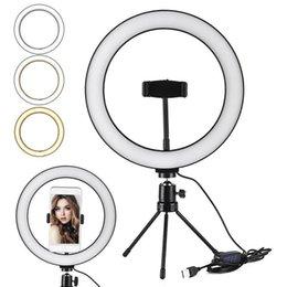 Anillo Selfie LED Soporte de luz de 26 cm 10 pulgadas Mini trípode para para teléfono inteligente YouTube Tiktok Maquillaje Video de video Trípode Luz de anillo en venta