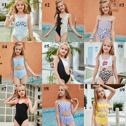 Wholesale Kid Swimwear Little Child Girl Swimsuit Bikini Bathe Letter Print Leopard Tie Dye Baby Swim Wear Suit