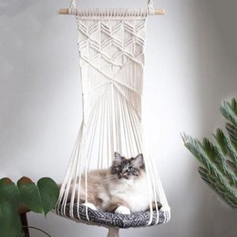 swing beds Australia - Macrame Cat Swing Bed Handwoven Pet Cats Hanging Sleep Chair Seat Hanging Basket Tapestry Cats Hammack Toy Home Decor