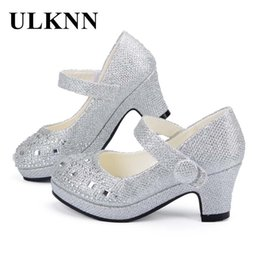 girls latex dress Australia - ULKNN Children Princess Shoes for Girls Sandals High Heel Glitter Shiny Rhinestone Enfants Fille Female Party Dress Shoes Y200103