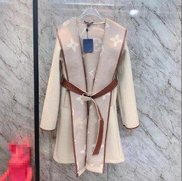 Wholesale woolen coats for sale - Group buy 2020 winter new ladies wrap around color lace up hooded cashmere coat woolen coat