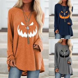 Wholesale tunic top women online – Women Plus Size Autumn Blouse Halloween Lantern Ghost Pumpkin Tunic Shirt Costume Long Sleeves Ladies Tops