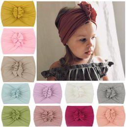 Wholesale Kids Baby Girl Turban Headband Soft Nylon Headwraps Bow Knot Headbands Stretchy Hair Bands Children Little Girls Fashion Hair Accessories