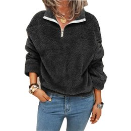 Wholesale woman zip hoodie online – oversize Autumn Winter Fleece Sweatshirt Pullovers Women Elegant Turn Collar Zipped Hoodies Tops Casual Solid Long Sleeves Oversized