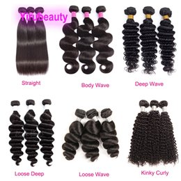 burgundy hair wefts 2021 - 3pieces Straight Bundles Deep Wave Kinky Curly Loose Deep Three Bundles Double Wefts Malaysian 100% Human Virgin Hair Wh