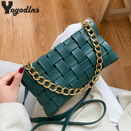 crossbody women bag Australia - Fashion Chain Shoulder For Women PU Leather Crossbody Solid Color Woven All-match Popular Designer Baguette Bag 201014