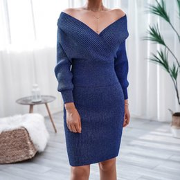 Wholesale petite dress clothes for sale – plus size Women Piece Sweater Dress Off Shoulder Long Sleeve Sheath Skirt Short Women Knitting Daily Wear Winter Lady Clothes Prom Party Gown Cheap