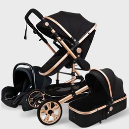 Poussette de bébé luxueux 3 en 1 Véritable portable bébé chariot de bébé Prame aluminium Cadre haute poussette de paysage pour le nouveau-né1 en Solde