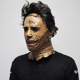 texas kettensäge großhandel-Texas Chainsaw Massacre Leather Masken Latex Scary Movie Halloween Kostüm Party Ereignis Requisiten Spielzeug Karneval Maske