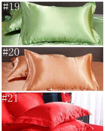 silk pillow covers UK - Pillow Case Solid Color Silk Pillowcases Candy Fashion Sofa Throw Cushion Cover Silk Satin Pillow Cover Home Office H jllWdI mywjqq