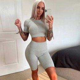 seamless yoga set Australia - Seamless Shorts Yoga Set Women Seamless Stripe Gym Fitness Clothing Sports Bra Workout Leggings Suits Sportswear