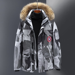 Wholesale canada man down jacket resale online – Winter Hooded Work Clothes Lovers Jacket Men Youth Canada Geese Short Thick Coat White Duck Down