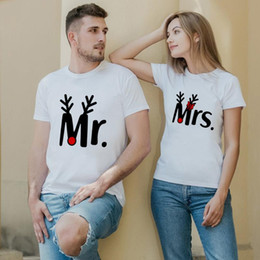 Discount mr t tshirt Mr and Mrs Christmas Shirts Fashion Casual Mr and Mrs Xmas T-shirts Clothes Harajuku Top Tshirt Streetwear Couples T Shi