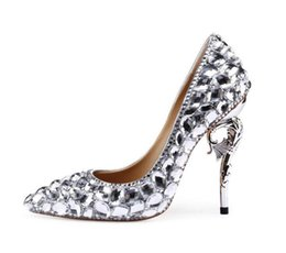 sparkly pumps Australia - Silver Wedding Shoes Rhinestone 105mm Stiletto Heels Pointed Toe Wedding Pumps Sparkly Pearl Snake Heel Bling Diamonds Shoes