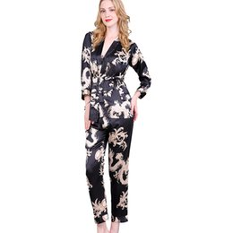 Wholesale long rayon nightgowns for sale - Group buy Black Women s Nightgown Long Sleeve Rayon Sexy Pajamas Set Chinese Vintage Dragon Nightie shirt pant Pyjamas m l xl D128