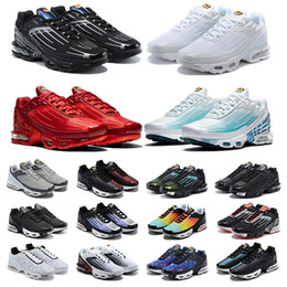 NEW Tn Plus 3 Running Shoes Men chaussures III Triple White Black Iridescent Green OG USA Neon Mens Womens Trainers Sneakers Sports 36-45 on Sale