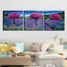 oil painting lavender wall art 2021 - 3 Panel Poster Modern Lavender Flowers Tree Pictures Wall Art Canvas Painting Posters And Prints Wall Pictures For Livin