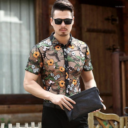 Wholesale shirts large mesh resale online - Summer Mens Fashion Mens Hawaiian Shirts Short Sleeve Flowers Transparent Shirts See Through Mesh Dresses Large Size1