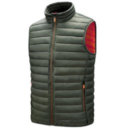 Wholesale sleeveless zip vest resale online - Autumn Men Vest Parka Casual Solid Color Zip Stand Collar Sleeveless Thin Jackets New Mens Jacket