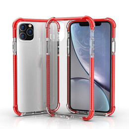 Wholesale coloured iphone for sale - Group buy Colours Shockproof Hybrid TPU Transparent Clear Acrylic Hard Back Case for iPhone pro max Pro XS MAX Plus