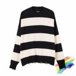 Wholesale black white stripe sweater men for sale – oversize Black White Stripes Sweater Men Woman High Quality Sweatshirts Crewneck Vintage Destroyed Knitted Jumper