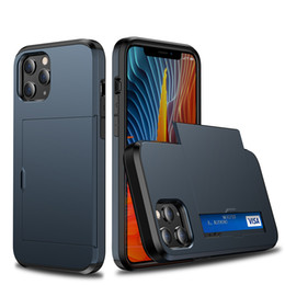 Custodia antiurto Dual Layer Porta carte di credito TPU dura del PC per iPhone 12 Mini 11 Pro XS Max XR 7 8 più