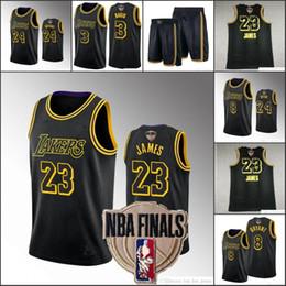 Men Los AngelesLakersKobeBryantLeBron James Anthony DavisNBA 2020 Finals Black Mamba Dual Number Jersey