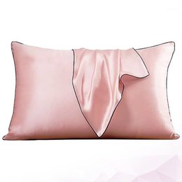 silk pillow covers UK - 2Pc Silk Pillow Case Ice Silk Soft Mulberry Pillowcase Cover Square Pillow Cover Plain Color Home (Pink)1