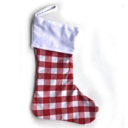 Wholesale lattice socks online – funny Christmas Stocking Plaid Canvas Ornaments Red White Black Candy Bags Xmas Hanging Stocking Christmas Lattice Socks Party Decoration EWF2506
