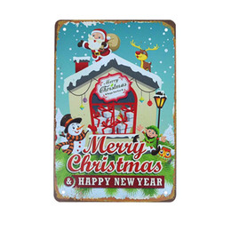 christmas tree posters 2020 - Vintage Painting Plaques Tin Sign Metal Crafts Personality Christmas Mural Home Bar Cafe Wall Decor Art Poster Xmas Deco