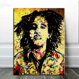 bob marley home decor Canada - Alec Monopoly Art Painting BOB MARLEY Home Decor Handpainted &HD Print Oil Painting On Canvas Wall Art Canvas Pictures 201008