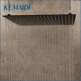 shower head wall holder Australia - KEMAIDI 20 inch Black Stainless Steel Bathroom Square Rain Shower Head Ceiling Wall Top Sprayer Thin high pressure 201105