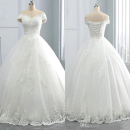 ingrosso gonna del sequin della marina-2021 Abiti da sposa in pizzo invernale con scollo a V In inverno Appliques Plus Size Off The Shoulder Ball Gown personalizzato Vestido De Novia Abito da sposa formale