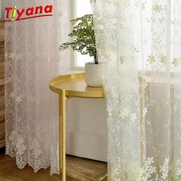 Wholesale white cotton voile for sale - Group buy Cotton Linen White Embroidered Voile Curtain for Living Room Bedroom Bay Window Terraces Finished Curtain Tulle WP058