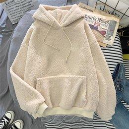 Wholesale hoody lady online – oversize Hot Autumn Winter Thick Warm Coat Velvet Hoodies Women Hoody Sweatshirt Solid Blue Pullover Casual Tops Lady Loose Long Sleeve