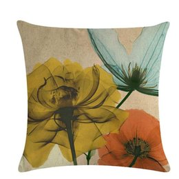 watercolor pillow cushion covers Australia - Watercolor Flower And Leaf Pattern Decorative Cushions Pillowcase Linen Cushion Cover Throw Pillow Sofa Decoration Pillowcover