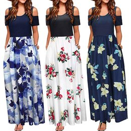 v neck cold shoulder dress UK - Pocket Dress Women Summer Cold Shoulder Floral Print Elegant Maxi Long Dress Plus Size Ladies Casual Sundress Big Size