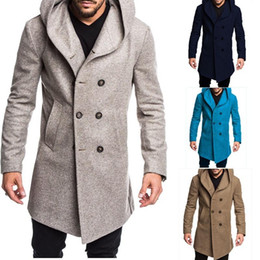 Wholesale knitted woolen jacket for sale - Group buy Mens Autumn and Winter Jackets New Woolen Coat Slim Mid Length Trench Fashion Slim Wild Male Long Overcoat Jacket Coats