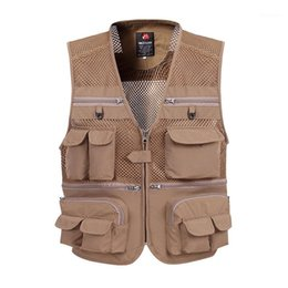 Wholesale fashion tactical vest for sale - Group buy Men Large Size XL XL Tactical Vest Casual Vest Male Multi Pocket Fashion Waistcoats High Quality Grid Breathable Fishing1