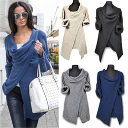 Wholesale cowl necked sweater resale online - Women Solid Color Sweater Fashion Trend Irregular Neck Long Sleeve Pullover Sweaters Designer Female Autumn New Loose Casual Knit Sweaters