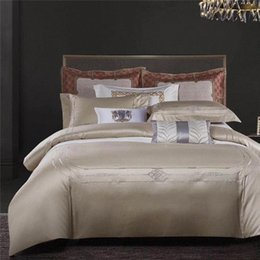 unique duvet cover sets Canada - 39 600TC Egyptian Cotton Sateen Silky Soft Duvet Cover Bed Sheet Set Chic Embroidery Bedding Set Unique Duvet Covers Boy Bedding From 9eLy#